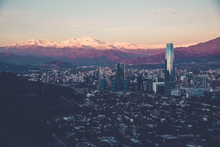 Santiago, Chile in the evening
