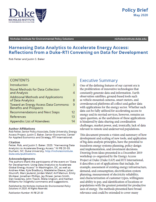 Harnessing Data Analytics to Accelerate Energy Access: Reflections from a Duke-RTI Convening on Data for Development