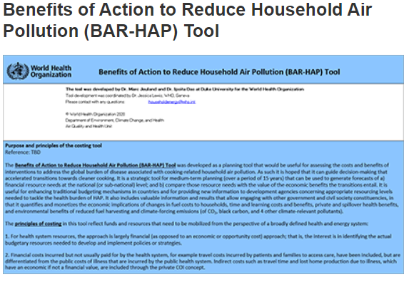 Benefits of Action to Reduce Household Air Pollution (BAR-HAP) Tool