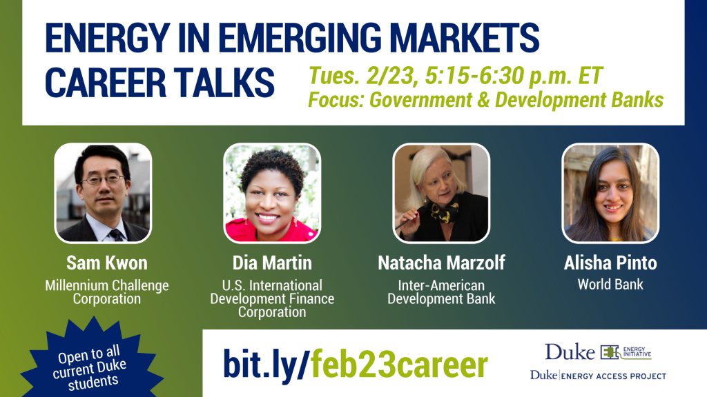Energy in Emerging Markets Career Talks panelists