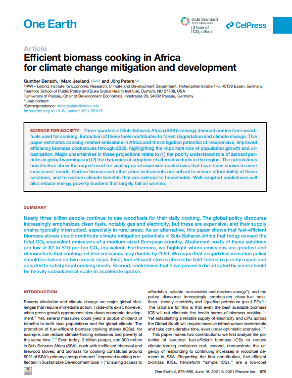 Efficient biomass cooking in Africa for climate change mitigation and development