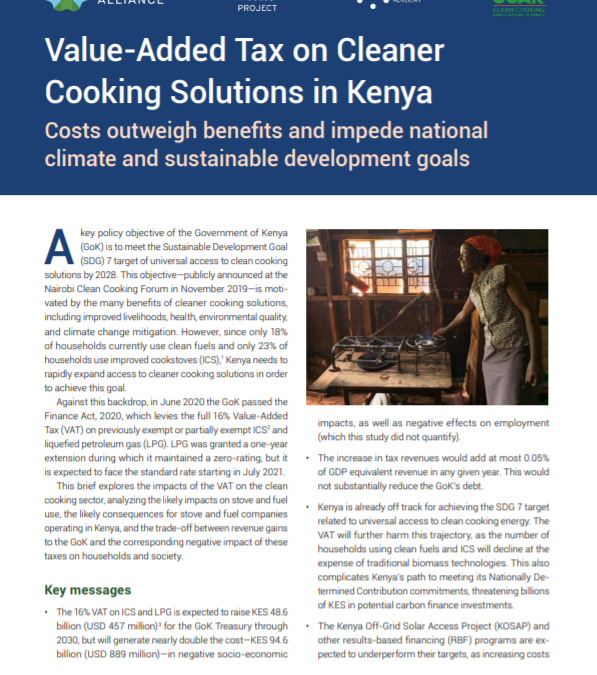 Analysis of the implications of the value-added tax on clean cooking in Kenya